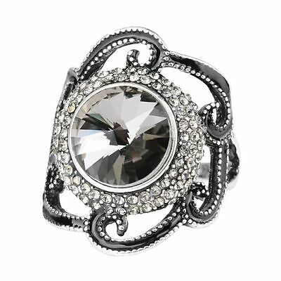 Jewelry Big Flower Ring Black Enamel Gray Glass Crystal Ancient Silver Color