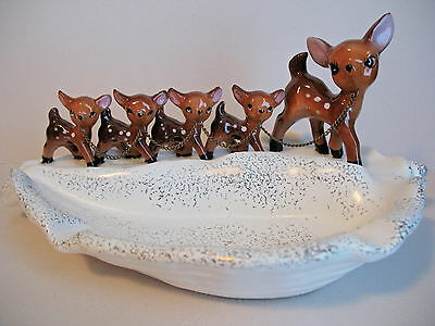 Vintage NAPCO 1950 Mama & 4 Baby Deer w/Original Chains Ashtray, Catch-All, etc.