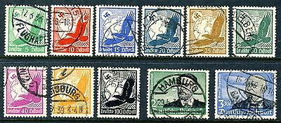 "1934 Germany cplt. VF used Airmail set of 11 stamps ""Zeppelin,Eagle"" Mi 529-539"
