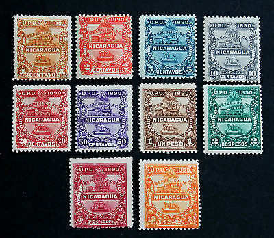 Stamp Nicaragua Sc# 20-29 MH Mint Hinged 1890