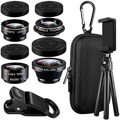 Cell Phone Camera Lens Kit with Tripod Adapter, AFUNTA Clip-on Macro Wide Angle