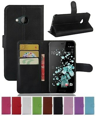 Wallet Leather Flip Card Case Pouch Cover For HTC U Play Genuine AuSeller