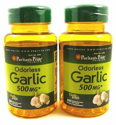 2x Odorless GARLIC 500 mg 200 Softgels