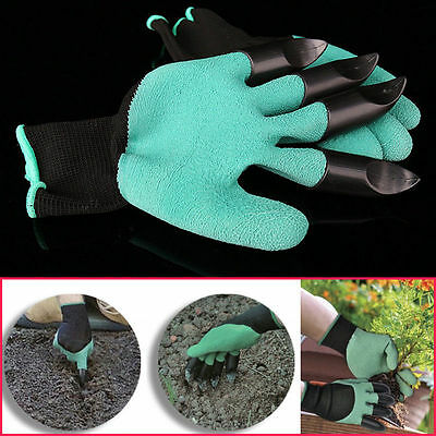 Garden GENIE Gloves For Digging & Planting with 4 ABS Plastic Fingertips Claws