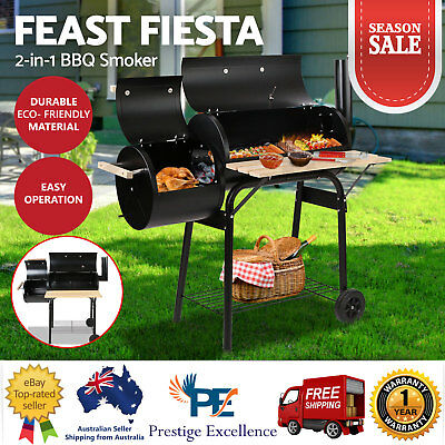 BBQ Smoker Offset Grill Charcoal Wood Barbeque Cooking Chamber Roaster 2in1