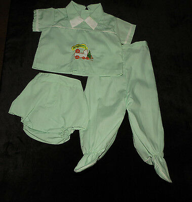 Sweet Vintage Baby Boys 3 Pc Outfit Shirt Dc Footed Pants Approx 0-6 Months Evc