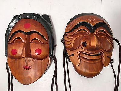 2 Vintage Hand Carved Wood Korean Theater Masks Female & Male w/ Moveable Jaw