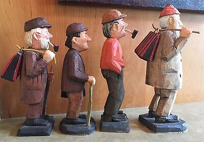 4 Vintage Hand Carved Wood Figurines Men with Bags and Canes Ed Moline