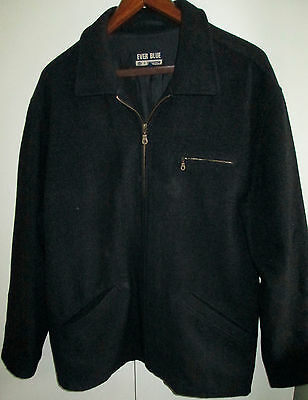Vintage Ever Blue Wool Blend Jacket Size XL Long Sleeve Metal Zipper Front