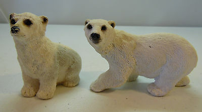 Vintage Stone Polar Bear Mother and Cub Baby Figure White