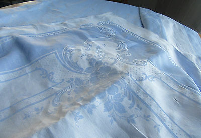 Vintage Large Blue Linen Damask Tablecloth 105 by 72