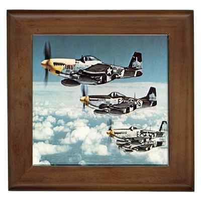 P-51 Mustang Fighter Jets Print Ceramic Framed Tile - Wall Deco, Great Gift Idea