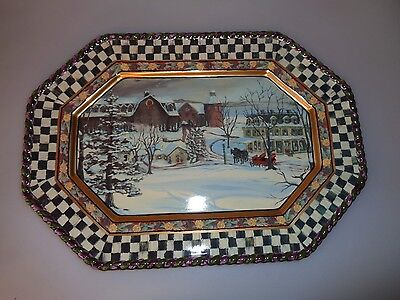"""Mackenzie Childs Maclachlan Platter 16.5"""" X 12"""" Inches Never Used 3Rd Edition 03"""