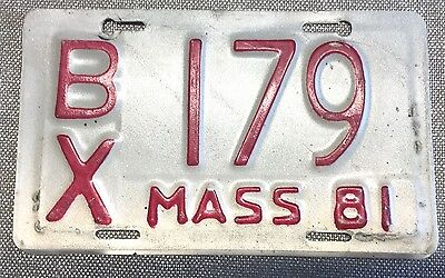1981 MASSACHUSETTS MOTORCYCLE License Plate BX 179 Mass MA Low Number