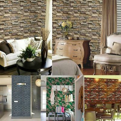 3D Wall Paper Brick Stone Rustic Effect Self-adhesive Wall Sticker Home Decor FW