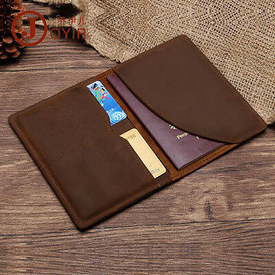 Solid Vintage Genuine Leather Passport Cover W/ RFID, Travel ID Card Wallet