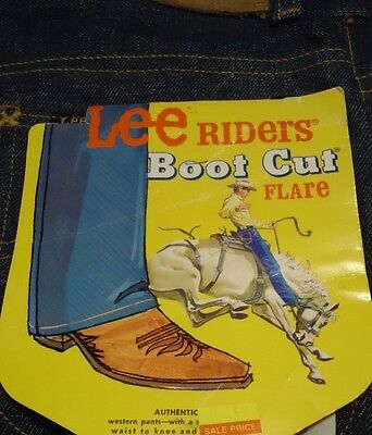 NOS VTG Blue Denim Lee Rider Boot Cut Flare Student 16S 26/32 Jeans DEADSTOCK