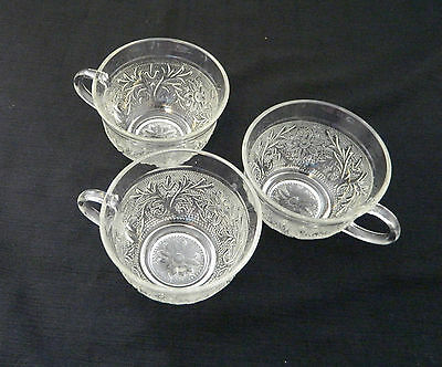 Anchor Hocking Sandwich Pattern Flat Cups Vintage Clear Glass Crystal Lot of 3