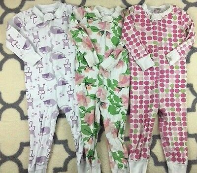 Lot of 3 Organic Girls Pajamas Sleeper PJs Hanna Andersson Size 80 18-24 months