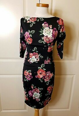 EXPECTED BY LILAC CLOTHING CO Maternity Dress - Size S - Black Floral Bodycon