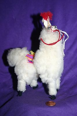 "New Llama 6"" White Stuffed figurine Real Soft Fluffy Alpaca fur Andes Peru"