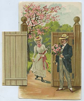 C1910 Pt L Mechanical Novelty Postcard Gate Opens To Show Young Woman G98
