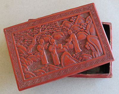 Early 20th Century Chinese Carved Cinnabar, Lacquer Box/Monks, Landscape Scene