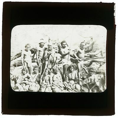 C1900 Positive Plate Glass Magic Lantern Slide Semi-Tribal Aboriginal Group G27