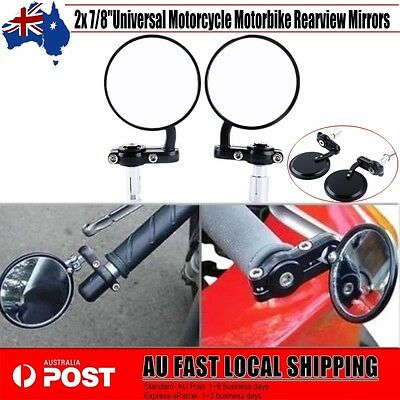 """Pair Rotatable Motorcycle Round 7/8"""" Handle Bar End Rear View Side Mirrors 22mm"""