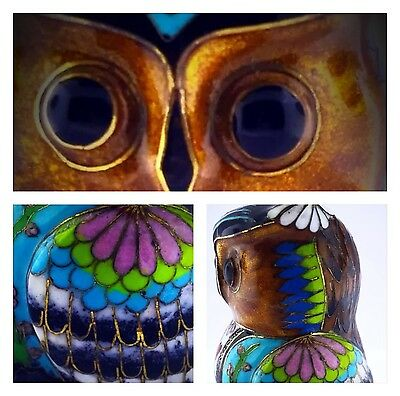 Stunning Vintage Cloisonné Enameled Wide Old Owl Figurine Hearts Flowers Motiff
