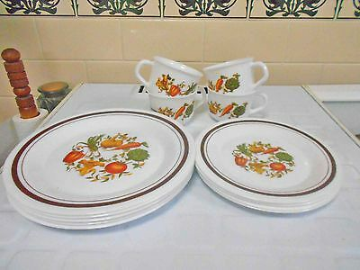 Vintage Pyrex, Milk Glass  Arcopal 'Vegetable Pattern' Part Dinner Set, good con