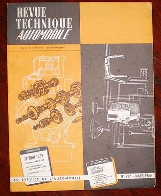 Revue Technique Automobile  N° 227 Citroen Id 19   Mars 1965