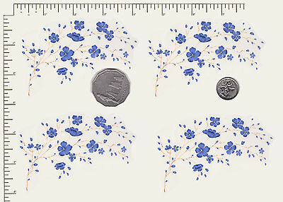 "4 x Waterslide ceramic decals Decoupage Dainty Blue floral 4"" x 2 1/2"" PD855"