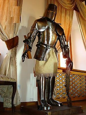 Antique Knight Suit of Armor 15th Century Combat Full Body Armour Shield Stand