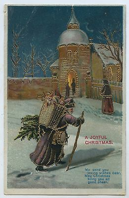 C1910 Lustre Lithographed Postcard Father Christmas In Purple Robes H11