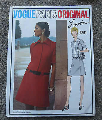 Original 1960s 1970s   Vogue Paris Original Pattern  Dress by Lanvin   32 1/2