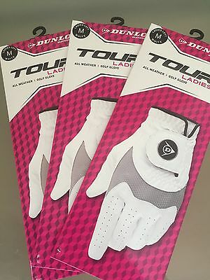 3 x Dunlop Tour All Weather Ladies LH Golf Glove Size M (BNWT)