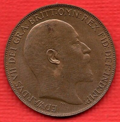 1908 Edward Vii Penny Coin.  Beautiful Condition.
