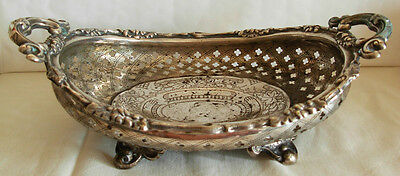 EARLY 19th CENTURY, 12 LOTH STERLING SILVER ENGRAVED  GERMAN BASKET - 198 grams