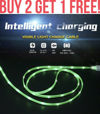 LED GLOWING MICRO USB Charger Sync Data Cable For Samsung LG HTC