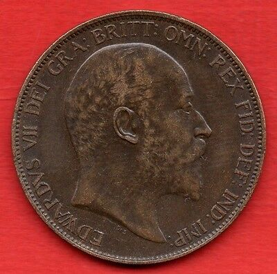 1906 Edward Vii Penny Coin In Lovely Condition.