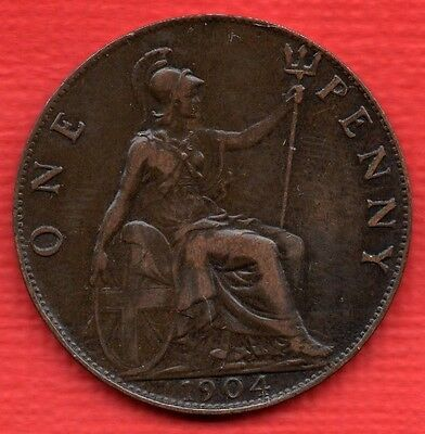 1904 Edward Vii Penny Coin In Nice Condition.