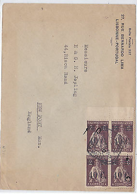 Portugal Cover to England 1928- rare 40S/2C ceres block.