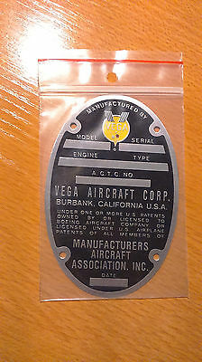 Repro Data Plate Vega Aircraft for B-17 Flying Fortress