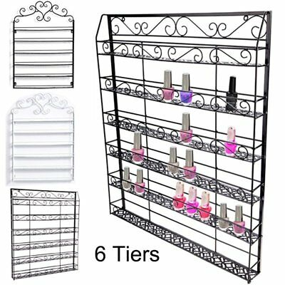 5/6 Black Tier Metal Nail Polish Display Wall Mount Rack Organizer Holder LOT TO