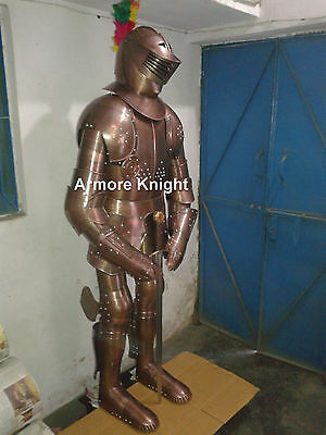 Solid Medieval Knight Suit of Armor Combat Full Body 15th Century Armour W/Stand