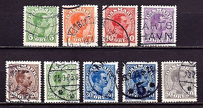 Denmark Stamps. 1913 King Christian X. Values to 50 Ore. Used. #3392