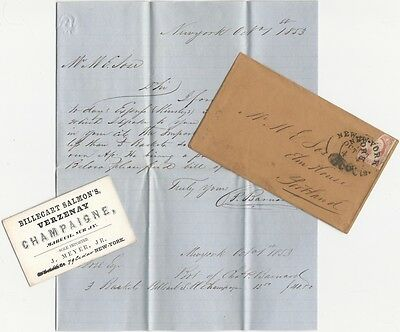 1853 New York French Champagne Importer Business Card, Letter & Envelope