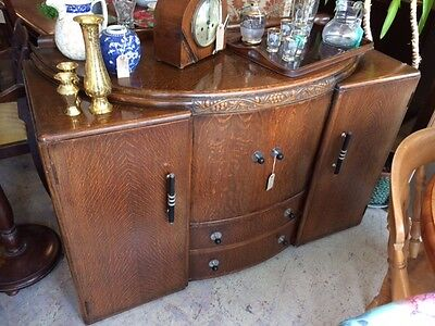 Art Deco - Drinks Cabinet / Sideboard C1920-30s In Oak.
