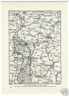 1917 WW1 MAP Battles of Ancre SOMME FRONT Bapaume PERONNE Picardy Region (282)